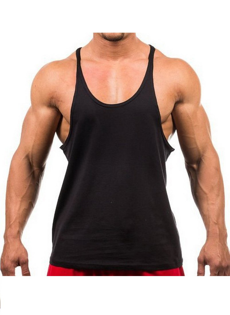 Yaker Mens Muscle Stringer Tank top, X-Large, Black