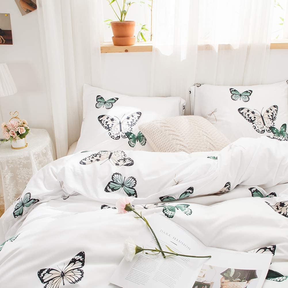 Twin, Blue Butterfly Merryword Blue Butterfly Bedding White Duvet Cover Set Blue Red Butterflies and Dragonfly Printed Design White Boys Girls Bedding Sets Twin 1 Duvet Cover 1 Pillowcase