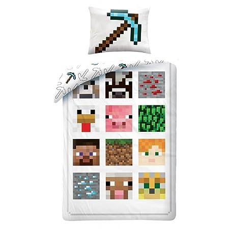 Minecraft Bettwäsche Kinder Bettwäsche 140x200 cm + 70x90 cm (Oeko Tex Standard 100)