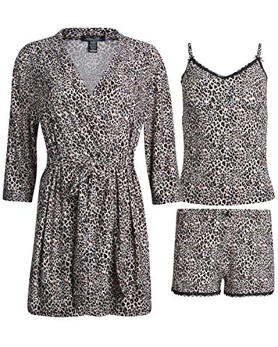 Rene Rofe Women\'s 3-Piece Pajama Set - Shorts, Cami and Robe (Blush Leopard, Medium)'