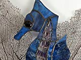Handmade Deep Sea Blue Stained Glass Seahorse Caballo de mar Wall Hanging Aquatic Window Ocean Suncatcher