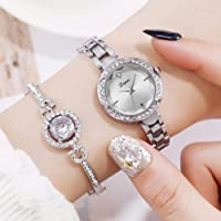 Bangle Watches for Women,Hamkaw Watch Bracelet Set Charming Sparkling Crystal Cuff Jewelry Quartz Chain Watch Mother's Day Valentine Hers Lover Girls Ladies