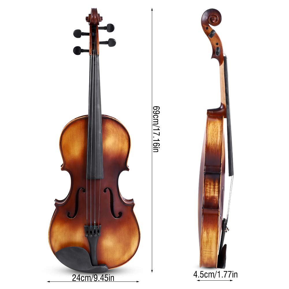 16inch Viola, Handcrafted Spruce Viola Solid Wood Acoustic Viola with Case, Bow, Bridge and Rosin Accessory for Beginners by Zerone (Image #2)