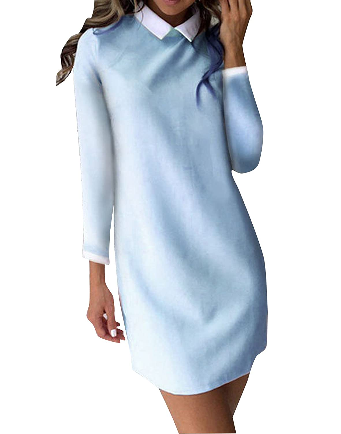 Women Long Sleeve Stand Collar Office Casual Dress other