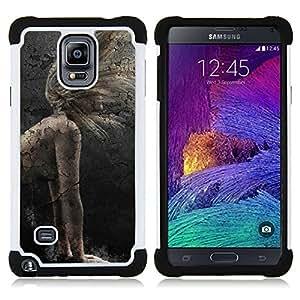 """Samsung Galaxy Note 4 IV / SM-N910 - 3 en 1 impreso colorido de Altas Prestaciones PC Funda chaqueta Negro cubierta gel silicona suave (Tokio Ghost"""")"""