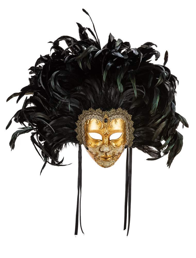 M/áscara Veneciana Cl/ásica Decorativa Eyes Wide Shut Con Decoraci/ón Craquelada Y Hoja De Oro Y Plumas Made In Italy