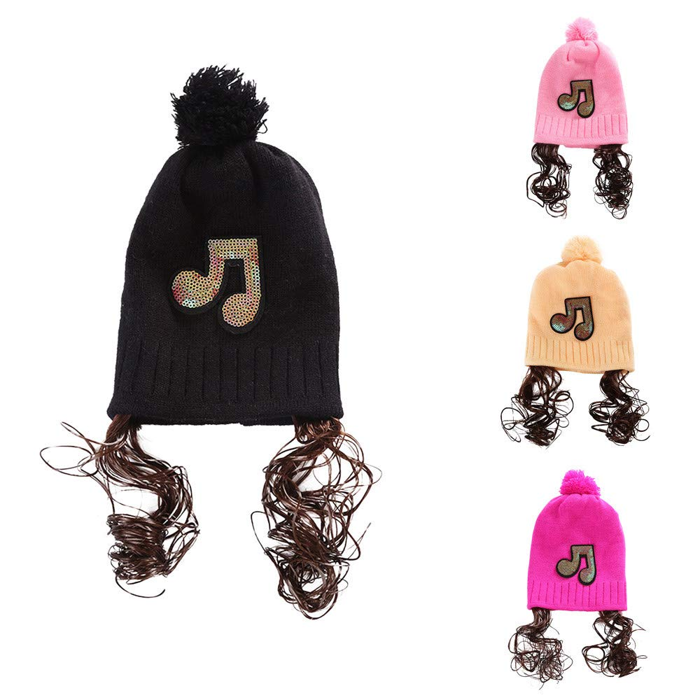 0-18M Baby Girls Ski Beanie Cap Vinjeely Cute Baby Girls Sequins Pompom Knit Earflape Fur Winter Warm Hat