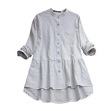 73482a185dc Women Striped Shirt Dress Long Sleeve Cotton Linen Button Causual Dress  With Pocket (S