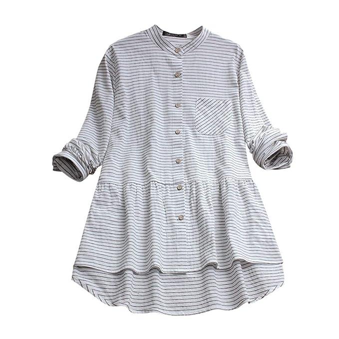 331749c912a94e Women Long Sleeve Shirt Cotton Linen Striped Casual Loose Blouse Button Tops  at Amazon Women's Clothing store: