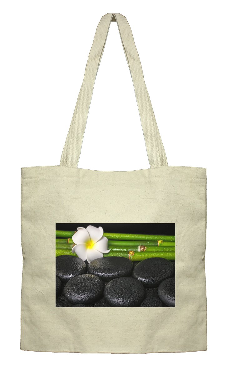 Flat Market Canvas Bag Beautiful Spa Concept Zen Basalt Stones By Style In Print
