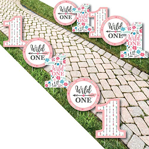 She's a Wild One - One Shaped Lawn Decorations - Outdoor Boho Floral 1st Birthday Party Yard Decorations - 10 ()