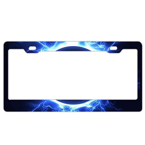 Amazon Com Yex Abstract Blue Lightning Sphere License Plate