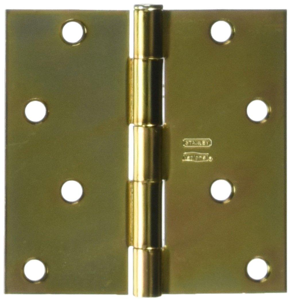 2 Pack Stanley Hardware S821-272 RP741 Square Corner Residential Hinge in Satin Brass Tone