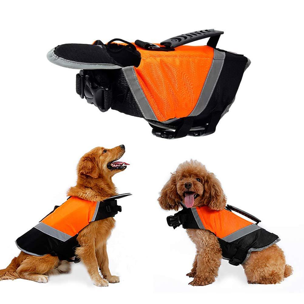 WLDOCA Life Saving Vest for Dog with Rescue Handle -Floating Dog Jacket Lifesaver Life Jacket Swimming Pool Safety Swimsuit at Beach,Orange,M