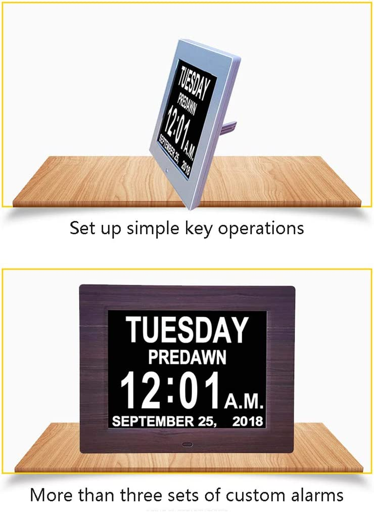 8 Languages Automatic Brightness Adjustment WHJ@ Digital Frames,Electronic Photo Frame Calendar Cloc,Large Font