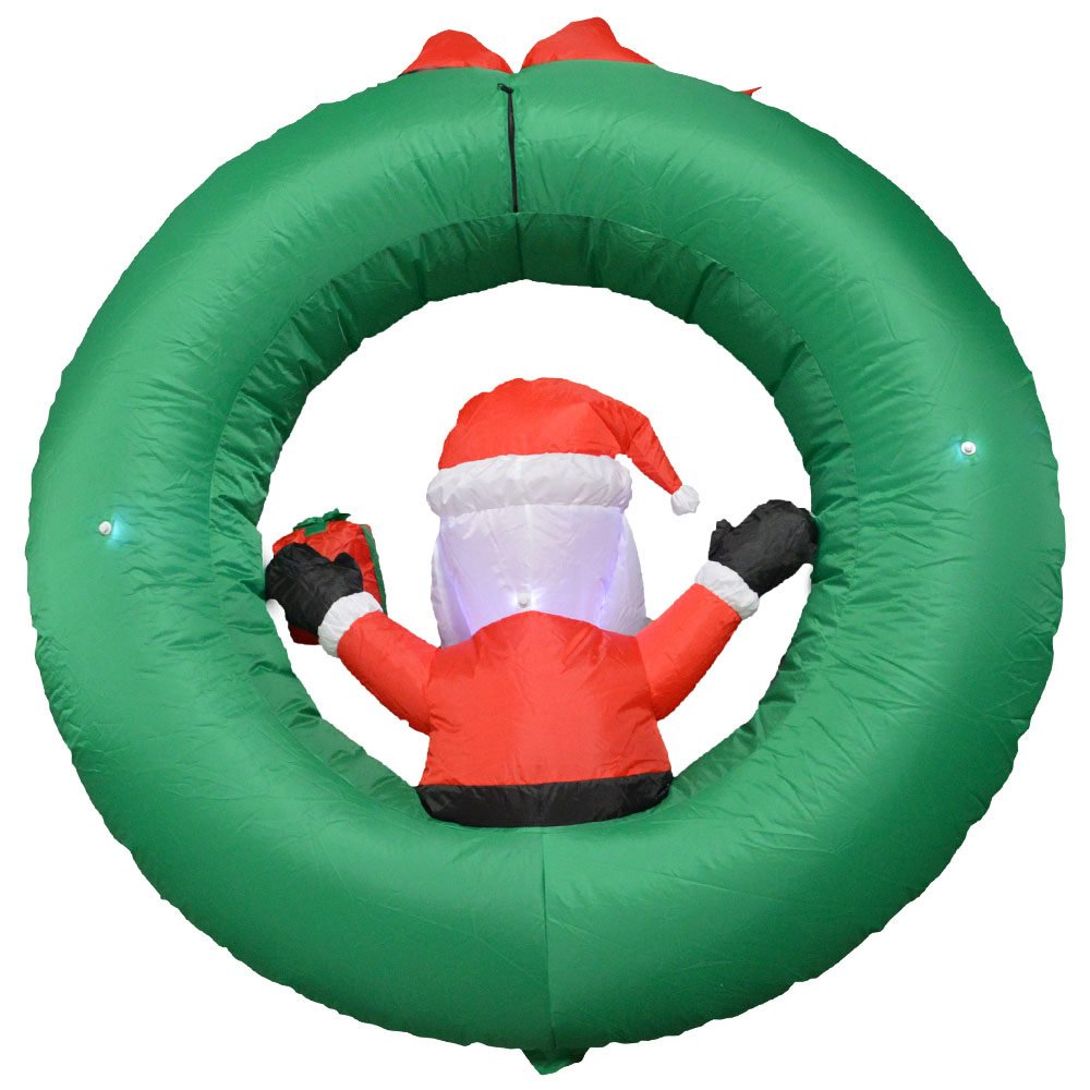Impact Canopy 513001000-VC Santa with Wreath Inflatable Holiday Decoration, 4' by Impact Canopy (Image #2)