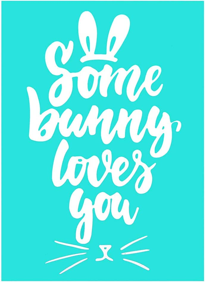 Some Bunny Loves You YeulionCraft Easter Theme Self-Adhesive Silk Screen Stencils Mesh Transfers Reusable Sign Stencils DIY Festival Painting on Wood Home Decor