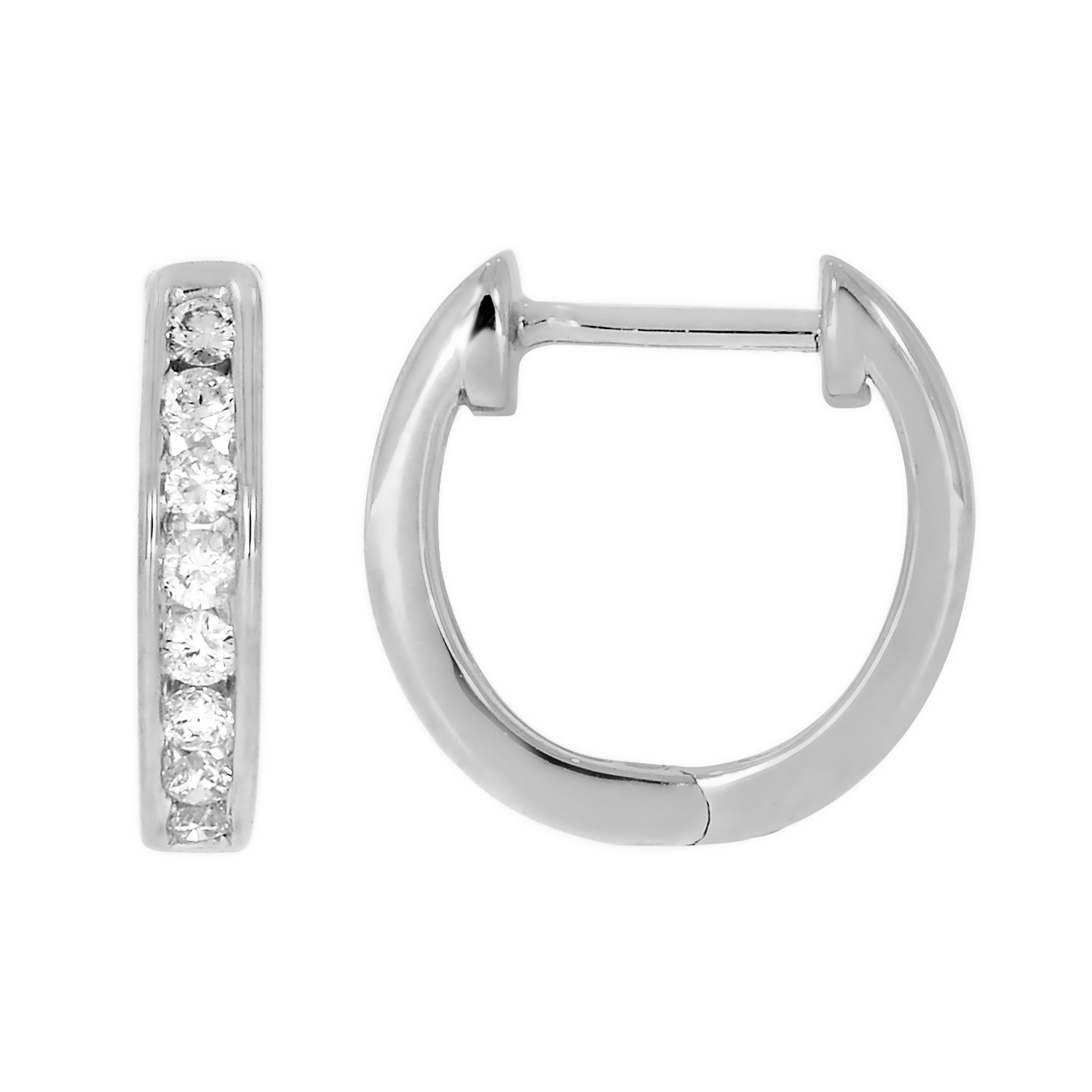 1/4cttw 10k Solid Gold Round Cut White Diamond Ladies Dainty Hoop Earrings (white-gold) by eSparkle