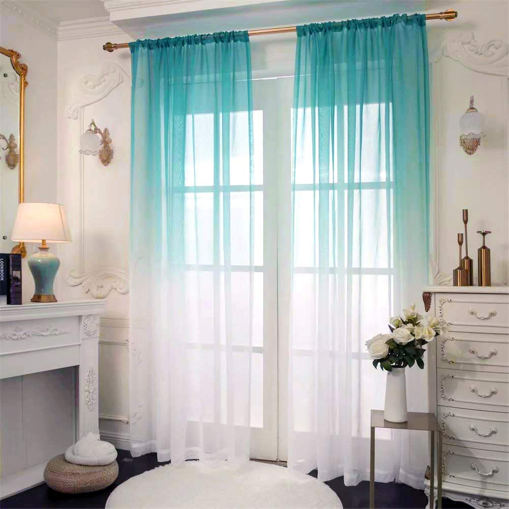 Linden Green Ombre Sheer Curtain 63 Inch Long 2 Panels 42 W x 63 L Rod Pocket Gradient Valance for Window Treatments Curtains for Bedroom