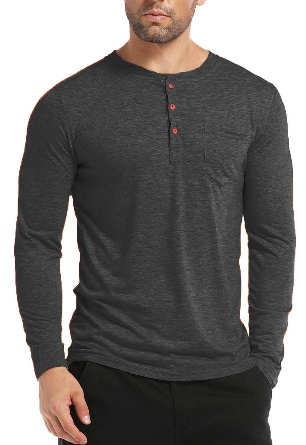 BABEIYXM Men's Henley Long Sleeve Shirts Soild Tee Shirts Front Pocket Tops Basic T-Shirts,Gray,M