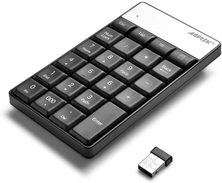 WADEO Teclado numérico inalámbrico, Teclado Numérico 23 Teclas con Receptor Mini USB 2.4G para iMac, MacBooks, PC portátil(Negro)