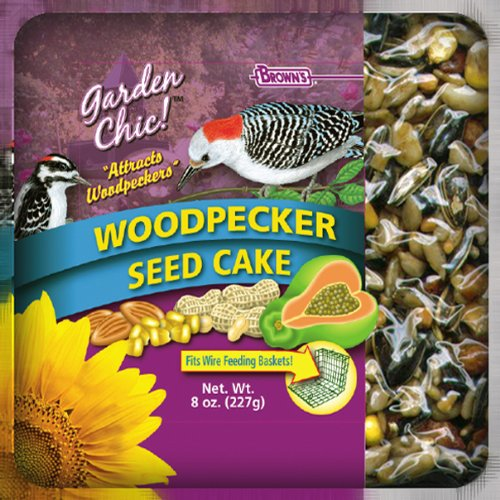 F.M. Brown's Garden Chic Wild Bird Mini Seed Cakes, 8-Ounce, Woodpecker with Fruit and nut Cashew Nut Cake