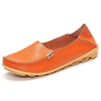 Mujer Mocasines de cuero, Gracosy Slip On Comfort Zapatos planos Mocasines Calzado de mujer Moda Loafers Casual Zapatos de conducción Zapatillas Casual ...
