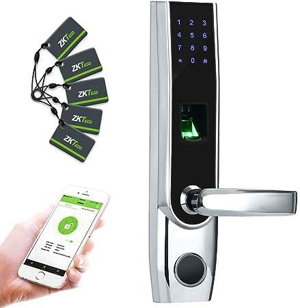 Cerradura Inteligente & Biométrica - ZKTeco TL400B - Smart Lock con lector de Huellas Dactilares...