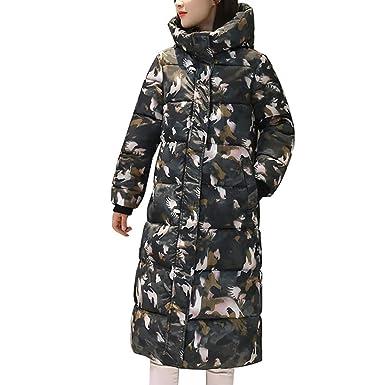 Damen Winterjacke Wintermantel Lange Druck Daunenjacke Outwear