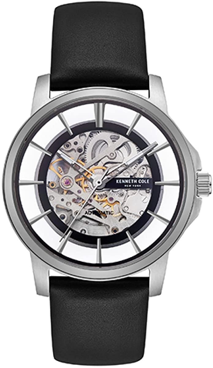 Kenneth Cole Men's 3 Hands Automatic KC50227001 Skeleton Dial Black Leather  Strap Watch: Amazon.ca: Watches