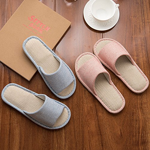 LYMMC House Slippers,Women's and Men's Cotton Causal Soft Slippers Anti-Slip for Indoor and Outdoor (Blue) by LYMMC (Image #5)