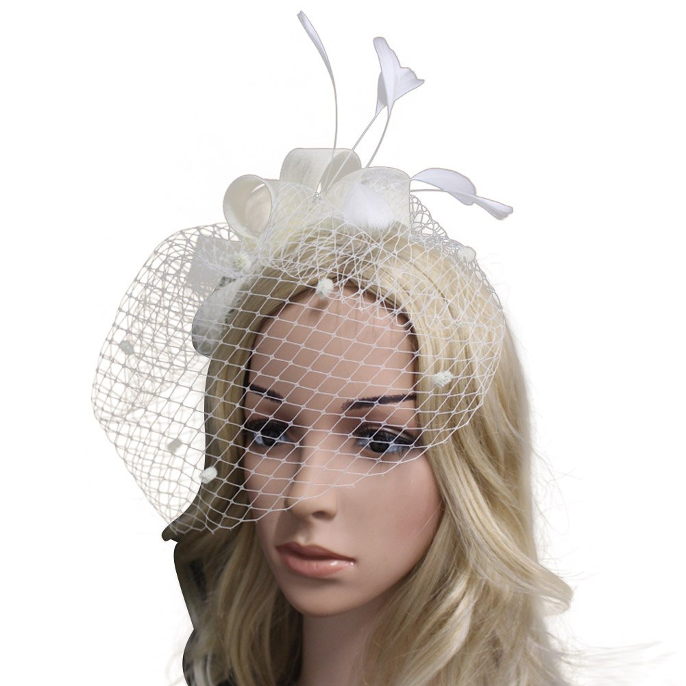 Song Lady Top Net Mesh Hat Derby Fascinator Hair Clip for Wedding Cocktail Party Veil Feather Beige