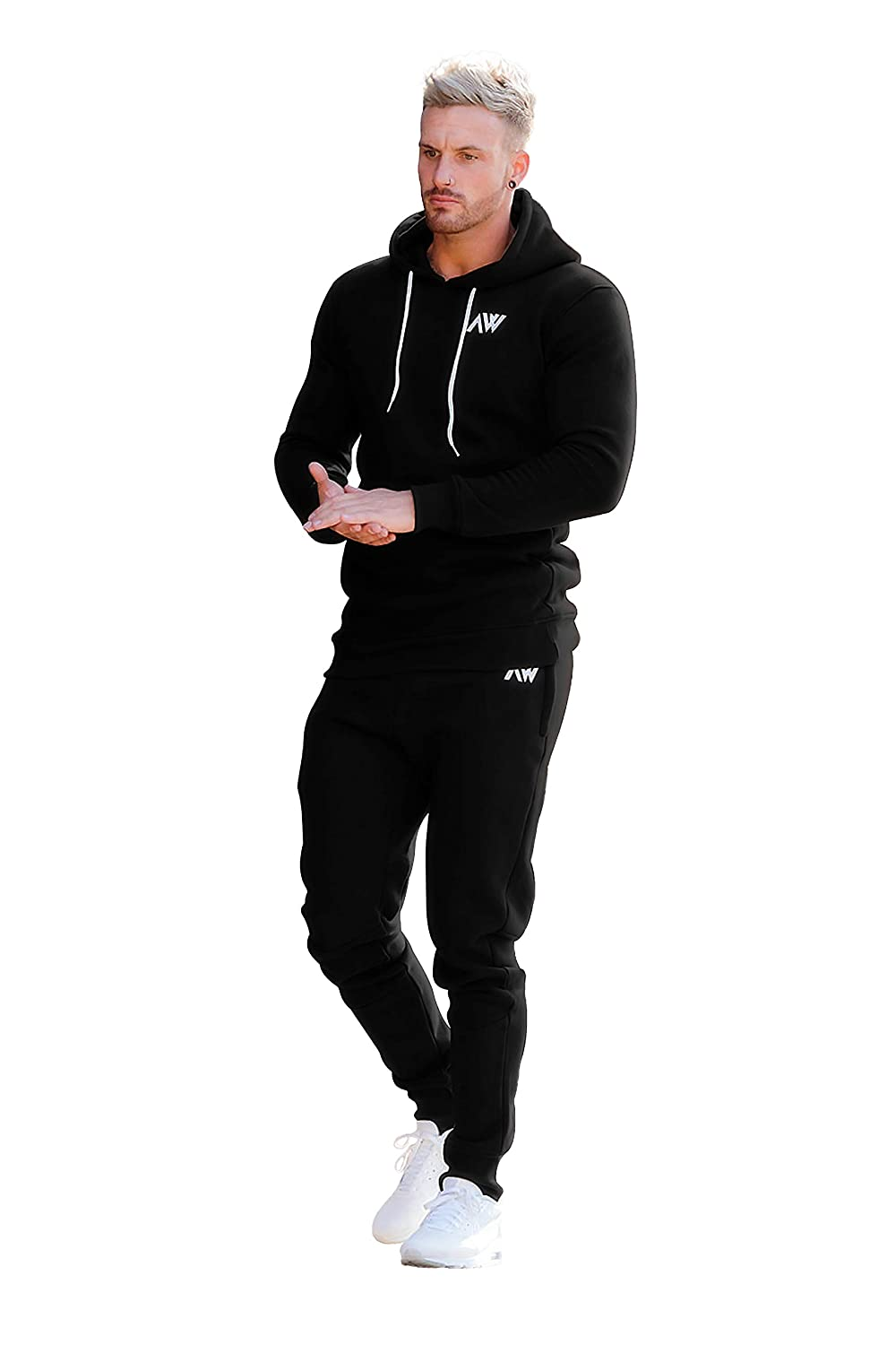 Fitness und Gym Trainingsanzug Aktiv Sport Stretch Slim Fit Top mit Hose Aspire Wear Herren Schwarz Core Trainingsanzug Oberteil und Hosen Set