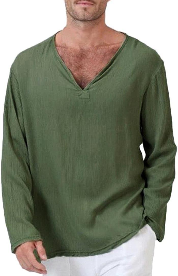 : haoricu Mens Summer Long Sleeve T Shirt Cotton