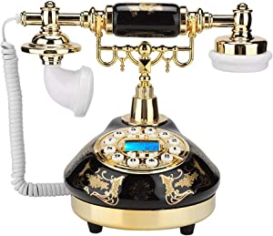 Serounder Anique Telephone, MS-9107 Ceramic Black Gold Flower Pattern Old Retro Telephone Home Decor Desk Phone Support FSK and DTMF Caller ID