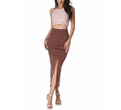 Carolyn Jones 2017 Maxi Skirts Brown Faux Suede Casual Club Vintage Vestidos Long As Photo Xs
