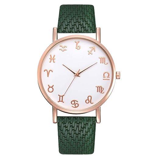 Reloj de Pulsera de Cuarzo analógico para Mujer, Correa de Piel, Redondo, Reloj de Pulsera: Amazon.es: Relojes