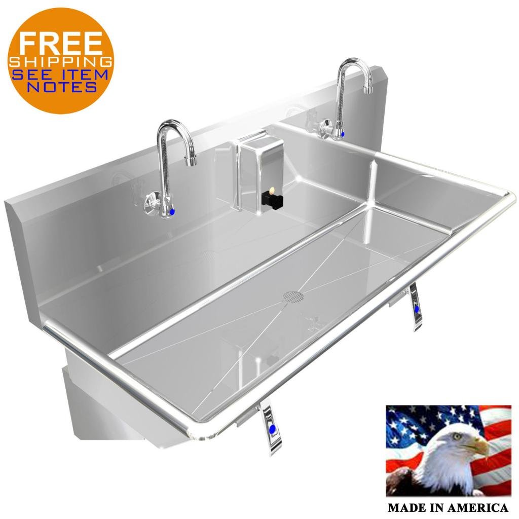 HAND WASH UP SINK 42'' 2 USERS MULTISTATION KNEE VALVE STAINLESS STEEL #304 BASIN by BSM