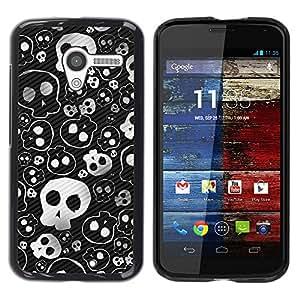 Caucho caso de Shell duro de la cubierta de accesorios de protección BY RAYDREAMMM - Motorola Moto X 1 1st GEN I XT1058 XT1053 XT1052 XT1056 XT1060 XT1055 - Skull Cute Cool Metal Design Death Punk