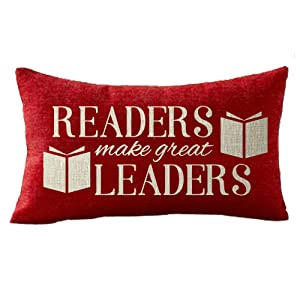 NIDITW Sisters Reading Room Library With Words Readers Make Great Leaders Lumbar Red Burgundy Burlap Throw pillow case Cushion Cover Sofa home decorative Oblong 12x20 Inches