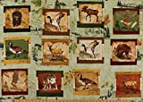 "28"" X 44"" Panel Wilderness Park Wild Animals Green Camping Mallard Duck Goose Bear Eagle Elk Wolf Cotton Fabric Panel (1406-28028-728)"