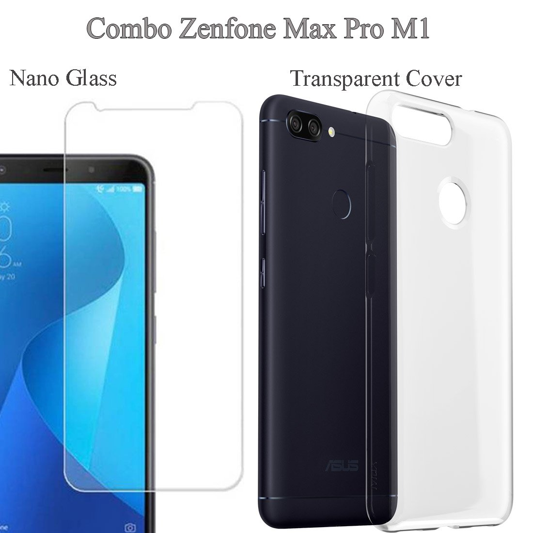 Mowear Back Cover With Tempered Glass For Asus Zenfone Max Pro M1 Softcase Silikon Transparan 2 Transparent Electronics