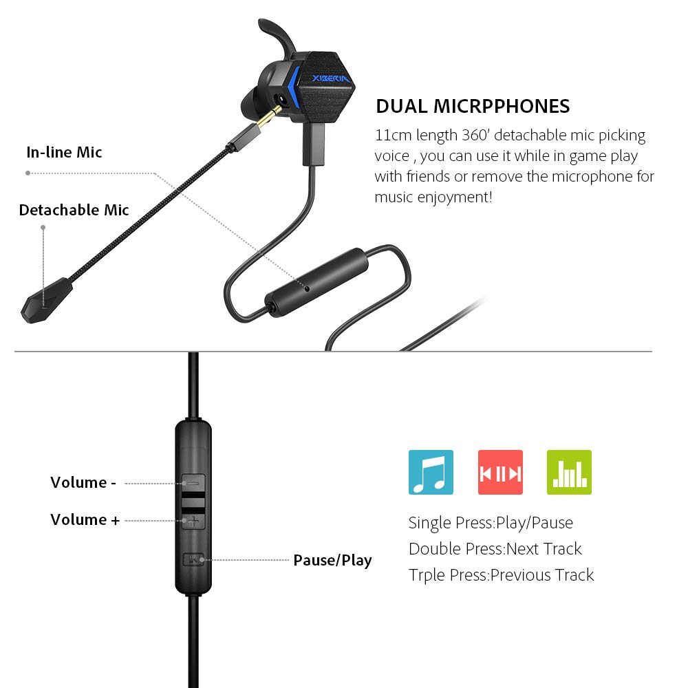 BENGOO MG-2 Gaming Earbuds with Dual Mic Deep Bass Vibration for Xbox One Controller, PS4, Nintendo Switch, PC, Cellphone, Noise Cancelling 4D Stereo in-Ear Headphones by BENGOO (Image #4)