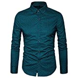 MUSE FATH Men's Printed Dress Shirt-100% Cotton Casual Long Sleeve Shirt- Button Down Point Collar Shirt-Green-M
