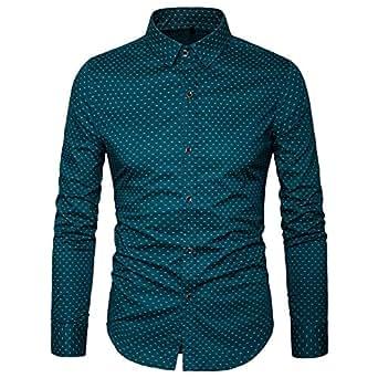MUSE FATH Men's Printed Dress Shirt-100% Cotton Casual Long Sleeve Shirt- Button Down Point Collar Shirt-Green-XS