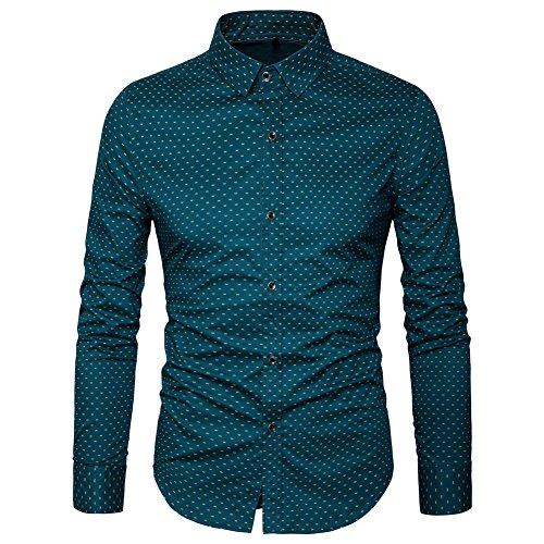 MUSE FATH Men's Printed Dress Shirt-100% Cotton Casual Long Sleeve Shirt- Button...