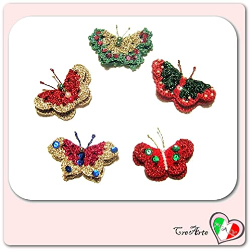 Set 5 mariposas de Navidad para aplicaciones, broches o ...