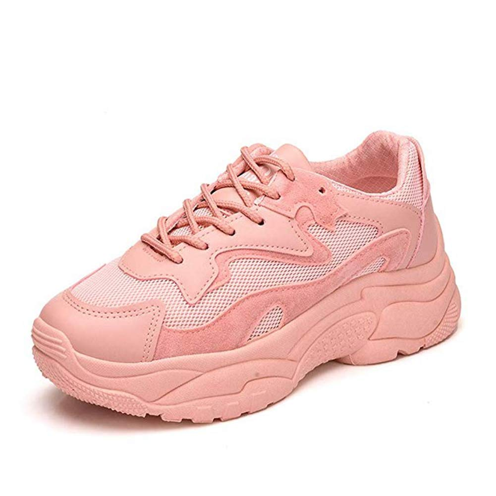 T-JULY Women's Fashion Mesh Breathable Sports Sneakers Wedges Flexible Platform Slip-on Casual Walking Shoes Pink