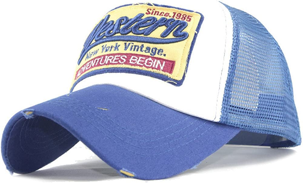 Mesh Back Baseball Cap Unisex Distressed Trucker Hat 3D Embroidered Patch Snapback Dad Cap