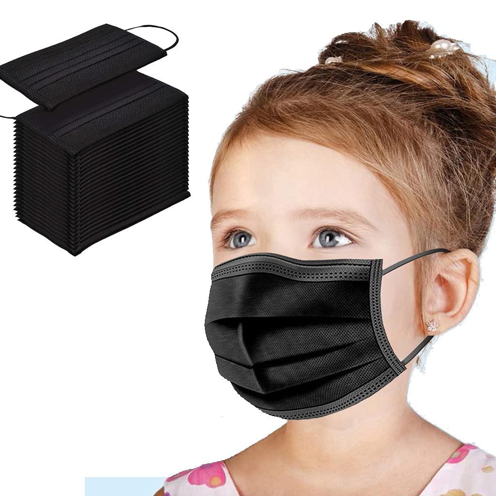 Infantil_Mascarilla_Desechables_Protector_bucal De Protección infantil Una vez_homologadas_3 capas de orejas Desechable infantil negro - 50PC